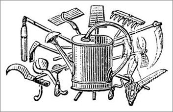 Nursery gardeners 1650 1850 for Gardening tools drawing